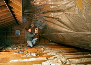 A radiant barrier installed in a Marshalltown attic